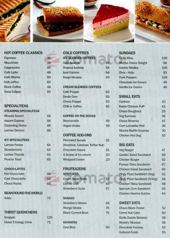 Coffee Day Menu And Price